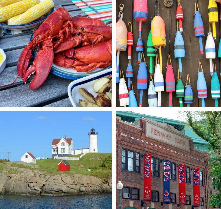 Four photos - lobster, buoys, island lighthouse, Fenway Park