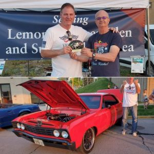 Two photos - top, John and HCBA President Jeff Hawthorne with the Car of the Week Trophy ... bottom, John and his red 1967 Chevelle