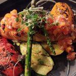 Grilled salmon + wood fired seasonal vegetables + heirloom tomato relish + meyer lemon vinaigrette